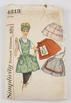 Simplicity 4213 Vintage Sewing Pattern Misses Half Apron, Tea Apron… Vintage Apron Pattern, Aprons Vintage, Vintage Sewing Patterns, Sewing Paterns, Pattern Sewing, Vintage Clothing, Simplicity Sewing Patterns, Apron Patterns, Pretty Patterns