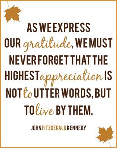 """As we express our gratitude, we must never forget that the highest of appreciation is not to utter words, but to live by them."" -JFK   http://aboutjfk.com/?p=133"