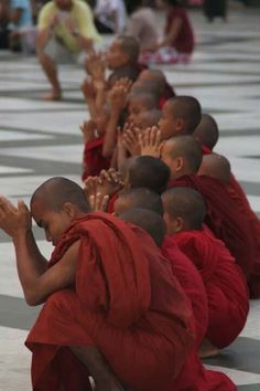 novice monks, myanmar