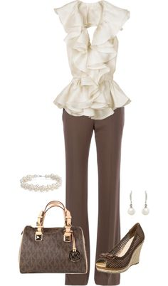 """Ruffles and Pearls"" by keri-cruz on Polyvore.  I like the blouse, skirt and bag.  I would prefer bold gold accessories."