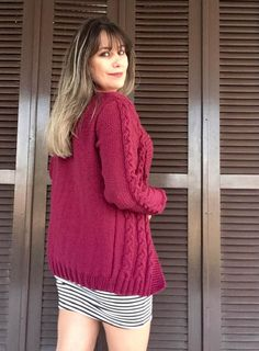 Knitting Yarn, Knitting Patterns, Cable Knit, Turtle Neck, Pullover, Fashion, Loom Knitting Patterns, Red Blouses, Knitting Sweaters
