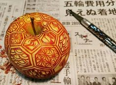 Mukimono - the art of Japanese food carving. Carved apple.
