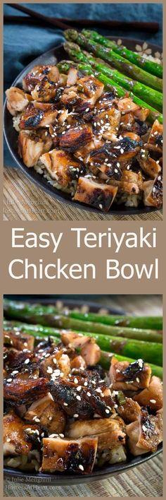 Easy Teriyaki Chicken Bowl Recipe is a rich slightly sweet savory dish that tastes better than takeout. HostessAtHeart.com via @HostessAtHeart