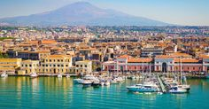 City and harbor view of Catania port, Sicily, Italy. Catania Sicily, Sicily Italy, Catania Italia, Palermo, Lonely Planet, Costa, Living In Europe, Famous Places, Round Trip