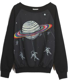 Black Long Sleeve Saturn Astronaut Print Sweatshirt -SheIn(Sheinside)