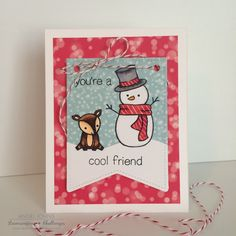 card winter christmas snowman Lawn Fawn Making Frosty Friends Lawn Fawn Bokeh paper pad - Lawnscaping Challenge