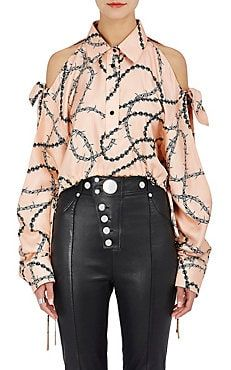 Barbed-Wire-Print Silk Crop Blouse