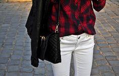 Tartan shirt & white trousers