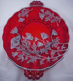 Vintage Ruby Red Glass Handled Plate with Silver Overlay