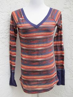 Miley Cyrus Max Azria sz L long sleeve double v-neck striped t-shirt top NWT