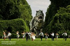 Wedding Photography - Dinosaur chasing bridal party! Dinosaur Wedding, Marry Me, Happily Ever After, Invite, Lion Sculpture, Wedding Photography, Wedding Ideas, Bridal, Party