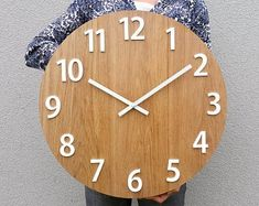 Wall Clock on indyviduall order by ModernClock Big Wall Clocks, Rustic Wall Clocks, White Clocks, Wood Clocks, Wood Lamps, Recycled Bike Parts, Desk Clock, Clock Table, Modern Clock