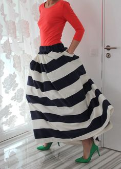 Made to order Black and White Stripes Maxi Long Cotton Party Skirt /Spring Summer Evening Fashion Clothing /