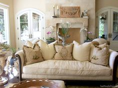 A FRENCH COUNTRY HOME TOUR French Country Sofa, French Sofa, Country Sofas, French Country Wall Decor, French Country Furniture, French Farmhouse, French Country Decorating, Living Room Decor Country, French Country Living Room