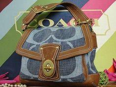COACH DENIM SIGNATURE~BLUE WHISKEY ALI LEGACY BROWN LEATHER~GOLD PURSE BAG I want this bag soooooo bad!!