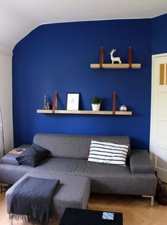 Blue wall decoration with Ittyblox miniature buildings Blue Wall Decor, Blue Walls, Buildings, Miniatures, Decoration, Bed, Furniture, Home Decor, Decor