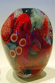 View the amazing Ceramic Vases and Vessels in the Fusion Art Glass Gallery. Several beautiful styles and artists to choose from, get just what you want today! Blown Glass Art, Art Of Glass, Glass Artwork, Glass Ceramic, Mosaic Glass, Stained Glass, Glass Vessel, Dale Chihuly, Cristal Art