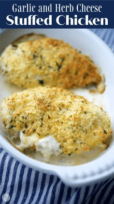 Boneless chicken breasts stuffed with garlic and herb spreadable cheese; then breaded and baked until golden brown. Turkey Recipes, Beef Recipes, Chicken Recipes, Vegan Recipes, Boneless Chicken Breast, Chicken Breasts, Delicious Dinner Recipes, Yummy Food, Thin Sliced Chicken