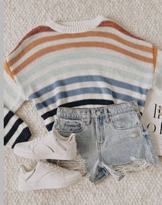 outfit summer dress Love You So Striped Sweater Casual School Outfits, Cute Teen Outfits, Cute Comfy Outfits, Teen Fashion Outfits, Teenager Outfits, Retro Outfits, Stylish Outfits, Girl Outfits, 70s Fashion