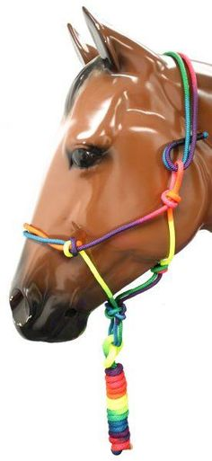 "Rainbow colored knotted cowboy knot halter with 5/8"" X 8' matching lead."
