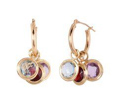 10K Yellow Gold Amethyst, Blue Topaz and Garnet Hoop Enhancer Earrings