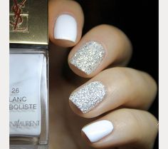 The 35 Prettiest Wedding Nail Colors - The 35 Prettiest Wedding Nail Colors silver glitter accent nails - AccentNails CoffinNails colors Manicures Nail NailArt NailArtDesigns NailDesign prettiest StilettoNails wedding Wedding Nail Colors, Wedding Manicure, Wedding Nails For Bride, Bride Nails, Wedding Nails Design, Prom Nails, Wedding Dress, Red Wedding, Spring Wedding