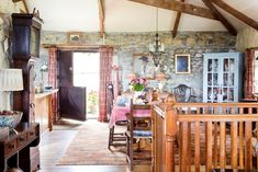 We kept the barn's original open layout for the Dining room sitting room and kitchen