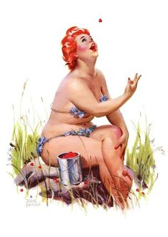 Artist Duane Bryers created the character of Hilda — the ginger-headed, plus size pinup seen in this gallery — as a reaction against the stereotypical thin pinup models of the 1950′s. #InkedMagazine #pinup #plussized #thick #pinupgirl #redhead