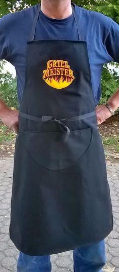 Grembiule da cucina nero ricamato