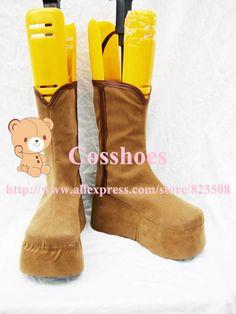 Custom made brown kagura Shoes boots from Gin Tama Cosplay