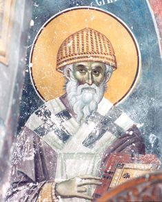 St Spyridon the Wonderworker Bishop of Tremithus. on December 12 ( December Byzantine Icons, Byzantine Art, Early Christian, Christian Art, Fresco, Tempera, Roman Centurion, Jesus Resurrection, The Son Of Man