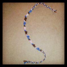 Blue, brown and light pink friendship bracelet I made c: <3