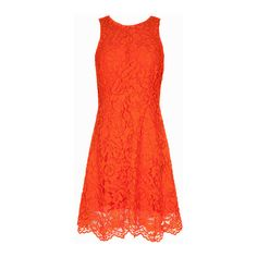 Orange Round Neck Sleeve Lace Dress -SheIn(Sheinside) (95 BAM) via Polyvore