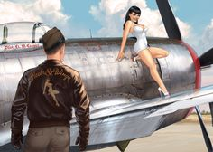 Collection of Aviation Pin Up and Nose Art copyrights belong to their respective owners. These are images I've found publicly accessible while browsing the Internet, unless otherwise stated. Pinup Art, Nose Art, Estilo Pin Up Retro, Serpieri, Fabian Perez, Pin Up Girl Vintage, Pin Up Posters, Pin Up Tattoos, Robert Mcginnis