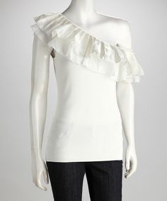Look what I found on #zulily! Ivory Asymmetrical Ruffle Top #zulilyfinds