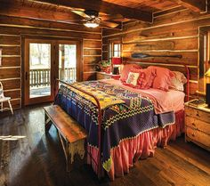 Love this bedroom in the rustic cabin. Log Cabin Furniture, Rustic Furniture, Bedroom Furniture, Bedroom Decor, Bedroom Rustic, Bedroom Ideas, Western Furniture, Luxury Furniture, Log Cabin Bedrooms