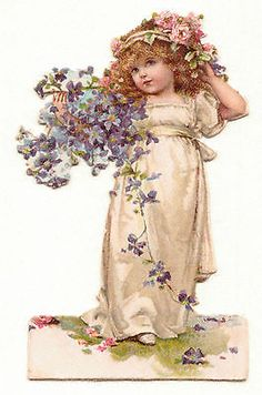 Glanzbilder - Victorian Die Cut - Victorian Scrap - Tube Victorienne - Glansbilleder - Plaatjes : Blumenkinder
