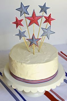 4th of July star cake topper tutorial