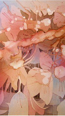 I'd like to do the colors in this painting which I find to be just beautiful. Peach, Lavender, Light Brown, Pale Mauve(Pink)and some Cream. Thank you Watercolour - Amanda Spencer artist Watercolor Negative Painting, Watercolor Artists, Abstract Watercolor, Watercolor And Ink, Watercolor Flowers, Watercolor Paintings, Watercolors, Abstract Paintings, Abstract Art