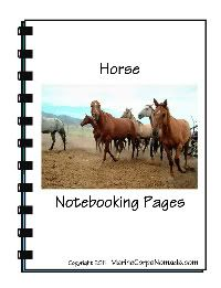 Color Horse Notebooking Pages - both color and black and white - free