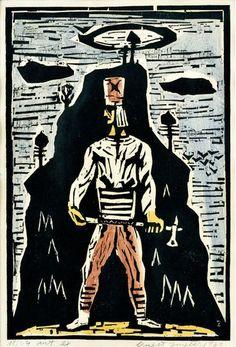 Ernest Zmeták, Hôrny chlapec, kolorovaný drevoryt, signovaný v dreve, 260 €, 51x66 cm