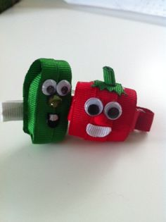 Cucumber and tomato hair clip ribbon by SweetTangerineBoutiq, $8.00 - not sure I could, pretty sure I wouldn't, but this is ADORABLE!!