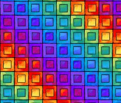 Rainbow Squares custom fabric by ileneavery for sale on Spoonflower Graph Paper Drawings, Easy Doodles Drawings, Graph Paper Art, Simple Doodles, Rainbow Wallpaper, Colorful Wallpaper, Colorful Backgrounds, Celtic Knots, Gift Suggestions