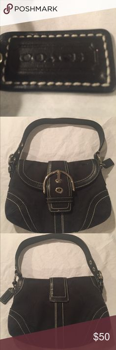 """Coach Authentic vintage small handbag black Coach Authentic vintage small black handbag. Excellent used condition as it's always been covered when not in use. (If I can find the duster that goes with the purse I will include it but I may have misplaced it getting my posh closet ready) 10"""" X 6"""" X 2"""" Coach Bags"""