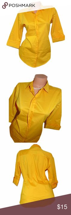 """Worthington Yellow 3/4 Sleeve Button Down Shirt Includes: 1x Worthington Button Down Shirt  Condition: NWT *MSRP $30 (markings on tag see photos.)  Size: Medium  Color: Yellow  Sleeve Style: 3/4 Sleeves  Design Features: Button Down  Length: 23""""  Bust (armpit to armpit): 17""""  Inseam (armpit to bottom hem): 14""""  Material: 64% Cotton 30% Polyester 5% Spandex Worthington Tops Button Down Shirts"""