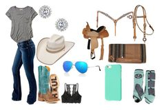 """rodeo day"" by jonellefuller ❤ liked on Polyvore featuring Miss Selfridge, Hollister Co., Bullet and Ray-Ban"
