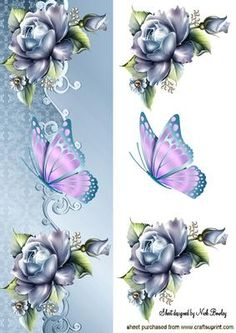 Blue Roses with Pink Butterfly Tall Dl