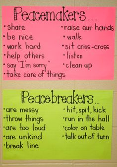 "I like the phrasing here: peacemakers vs. peacebreakers (as opposed to ""on task"" and ""off task."")  Other great ideas here for teaching children different manners and chores.  (I like the idea of ""Dusty"" the dust pan)"