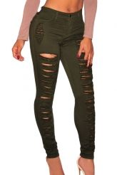 Olive Denim Destroyed High-waist Skinny Jeans