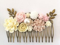 Pink Hair Comb Blush Ivory Cream White Floral Comb Leaf Flower Soft Pink Wedding Pastel Color Shabby Chic Romantic Vintage Style Woodland